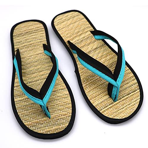 Zapatillas de Paja, Chanclas de Verano, Sandalias, Zapatos de Playa para Pareja, Chanclas, Zapatos de Playa, Mujeres, Hombres, Diapositivas, Zapatillas Antideslizantes, Zapatillas,Azul,37