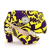 ER-Hoesing Partido Set Venta Zapatos nigerianos y los bolsos que emparejan conjunto decorado con diamantes imitación Plus tamaño los zapatos las mujeres del talón Yellow 39
