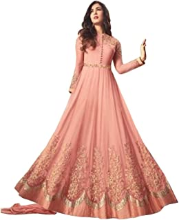 Royal Export Women's pink heavy net Long Salwar Suit set