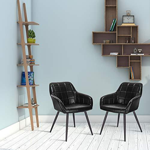 WOLTU 1 x Sillas de Comedor Nordicas Estilo Vintage Juego de 1, Silla de Cocina Silla Tapizada con Reposabrazos Tapizadas Cuero sintético, Estructura de Metal, Negro BH245sz-1