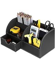 BTSKY Kantoor-/bureau-organizer/opbergdoos, multifunctioneel, van kunstleer, voor visitekaartjes, pennen, mobiele telefoon, afstandsbediening zwart