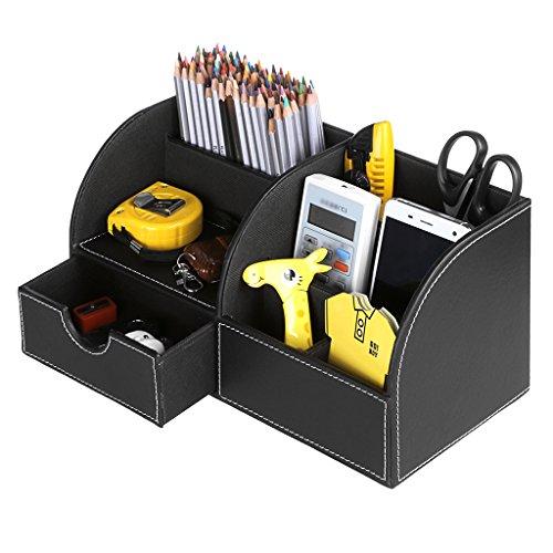 BTSKY Büro- / Schreibtisch-Organizer / Aufbewahrungsbox, multifunktional, aus Kunstleder, für Visitenkarten, Stifte, Handy, Fernbedienung Schwarz