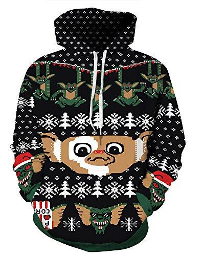 Couple 3D Santa Print Ugly Christmas Kangaroo Pocket Sweatshirt Hoodies Pullover Elf XL