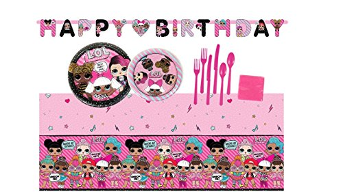 Find Discount L.O.L. Surprise Doll Birthday Party Supplies Bundle Set for 16 Guests - Plates, Tablec...