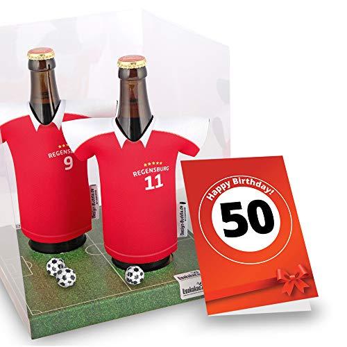 50. Geburtstag | Der Trikotkühler | Das Männergeschenk für Regensburg-Fans | Langlebige Geschenkidee Ehe-Mann Freund Vater Geburtstag | Bier-Flaschenkühler by Ligakakao