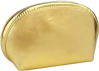 BRUIO Golden Makeup Bag Half Moon Cosmetic Beauty Storage Organizer Waterproof Portable Toiletry Handbag with Zipper,2PCS