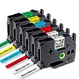Greateam Compatible Label Tape Replacement for Brother P-Touch 6mm TZe TZ Tape TZe-111 TZe-211 TZe411 TZe511 TZe611 TZe711, 1/4 Inch P-Touch Label Maker Tape for PT-H110 PT-D210 D400 D600, 6PK