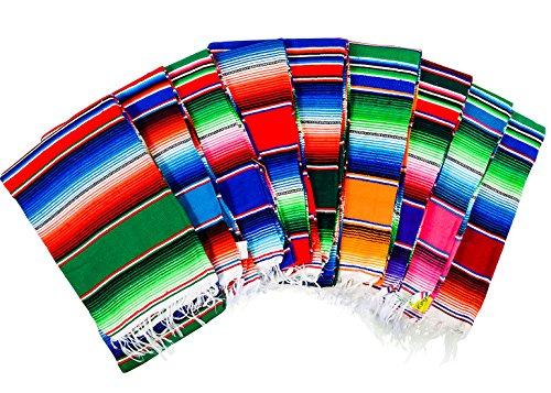 """MEXIMART's Authentic Medium Mexican Blankets Colorful Serape Blankets 80"""" x 48"""" (Purple)"""