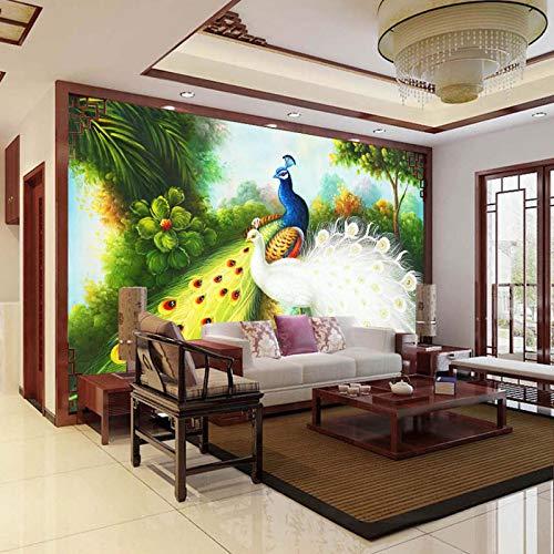 BIESHUO Wallpaper for Bedroom 3D Edel Tier Pfau Malerei selbstklebend Wandbild Wand Abnehmbare Tapete 3D Effekt Aufkleber 3D wandbilder Wohnzimmer Schlafzimmer Fenster Küche Flur Dekoration