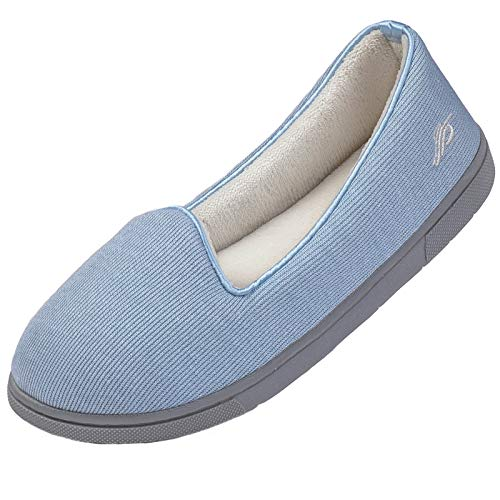Wishcotton Womens Cozy Light House Slippers, Memory Foam House Shoes with Closed Back, Non Slip Rubber Sole Indoor Outdoor, Light Blue 7 M US