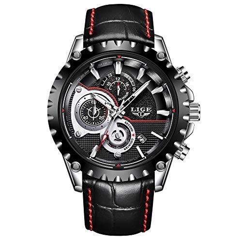 Relojes para Hombres,LIGE Correa de Cuero Impermeable Deportes Militar Reloj Gents Cronógrafo Calendario Top Marca Analógico de Cuarzo Relojes de Pulsera Negro