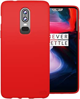 Orzly OnePlus 6 Case, FlexiCase for The One Plus 6 - Slim Fit Protective Flexible Gel Phone Case in Matt-Finish - RED