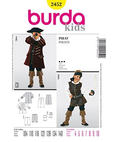 Burda 2452 Schnittmuster KostŸm Fasching Karneval Pirat (kids, Gr, 104 - 140) Level 3 mittel
