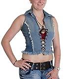 Brubaker US Designer - Vaqueros con cordones y flecos para mujer azul vaquero XL