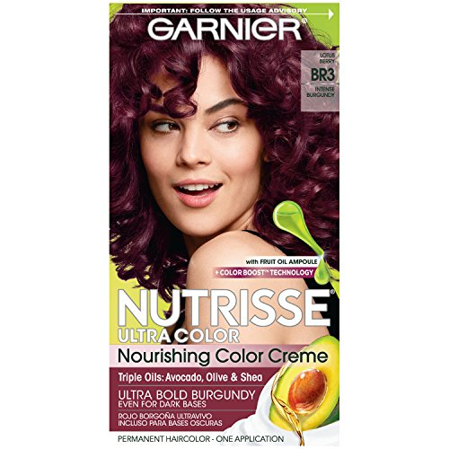 Garnier Nutrisse Ultra Color Nourishing Permanent Hair Color Cream, BR3 Intense Burgundy (1 Kit) Red Hair Dye (Packaging May Vary)