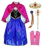 O.AMBW Princesa Anna Vestido Largo con Capa Rosa Roja para Niñas Cosplay Princesa con Accesorios...