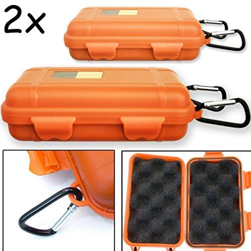 Outdoor Saxx® - 2X opbergcase, transportcase met karabijnhaak voor bevestiging, spatwaterdicht, stofdicht, robuust, voor geheugenkaarten, USB-stick, 12,5 x 7,5 cm, oranje, set van 2