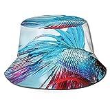 Gorra de Pescador Unisex Pez Betta Luchador siamés Nadando en Acuario Animal Marino Agresivo Verano Viajes Sombrero de Playa