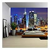 wall26 - Lower Manhattan from Across The Hudson River in New York City. - Removable Wall Mural   Self-Adhesive Large Wallpaper - 100x144 inches