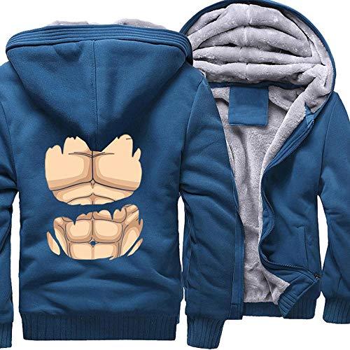 Chaqueta unisex con cremallera y capucha con capucha y cremallera, con capucha, para entrenamiento, de manga larga, para deportes de moda, color azul y XXL