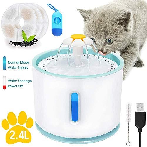 Katzen Trinkbrunnen Ultra Leise, 2.4L Automatisch Wasserspender für Hunde mit Wasserstand Fenster und LED Licht, Blume Katzen Wasserschüssel mit 3 Pcs Filters & Poop Taschenhalter & Reinigen Bürsten