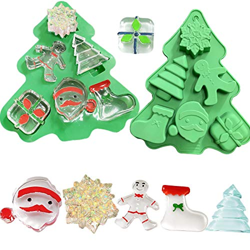 Silicone Christmas Mold for Resin,Making Soap,Baking,Candy,Chocolate,Candle,Resin Molds for Xmas Gift Handmade Soap Molds with Shape of Christmas Tree Socks Santa Claus