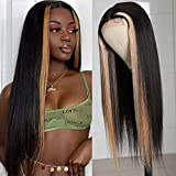 UNice Hair T-Part Lace Closure Wig Human Hair Blonde Highlight 4X4 Silk Base Fake Scalp Wigs Middle Part for Black Women, Brazilian Straight Human Hair Pre Plucked with Baby Hair 150% Density (22Inch)