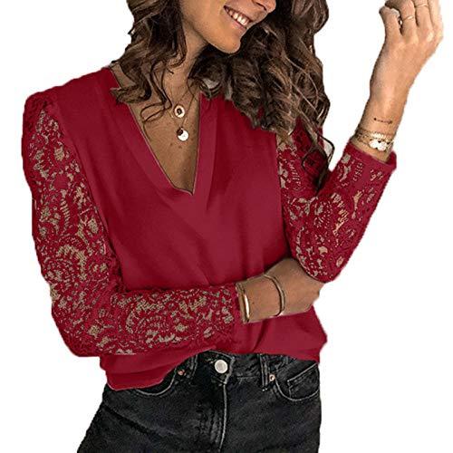 XFYS Camisas de Manga Larga de Encaje para Mujer, Camisetas de Moda para Mujer, Camiseta Blanca con Cuello en V, Camiseta de Verano y otoño, Camiseta Negra Holgada informal-yypx5090 Rojo Vino_L