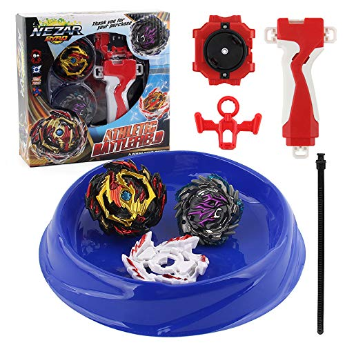 NEZAR Bey Battle Burst 2 in 1 Metal Fusion Battling Tops with 4D Launcher Grip Gyro Evolution Attack Pack Arena