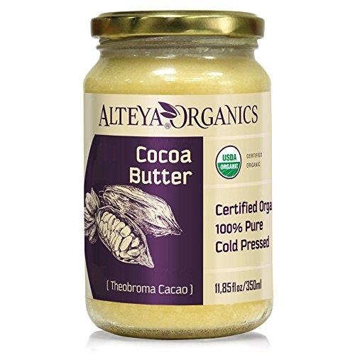 Alteya Organic Beurre de cacao 350ml - Beurre de cacao raffiné naturel pur certifié 100% organique USDA (Theobroma Cacao)