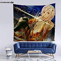 AnimeOnline タペストリー ギルティクラウン ゆずりは いのり 楪いのり 大判壁掛け おしゃれ インテリア ポスター アニメの絵 漫画 掛ける絵 背景布け 多機能 装飾用品 HD カスタム可能 70 x 100cm