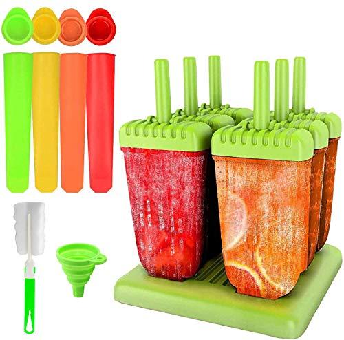 ❤【El paquete incluye】:6 piezas de moldes para paletas de hielo verde. Cada molde mide 6.1 × 2.4 × 1.0in. Los moldes de paletas de silicona de 4 piezas miden 7.9x1.6in. El embudo plegable y un cepillo están unidos para facilitar su uso y limpieza. ❤【R...