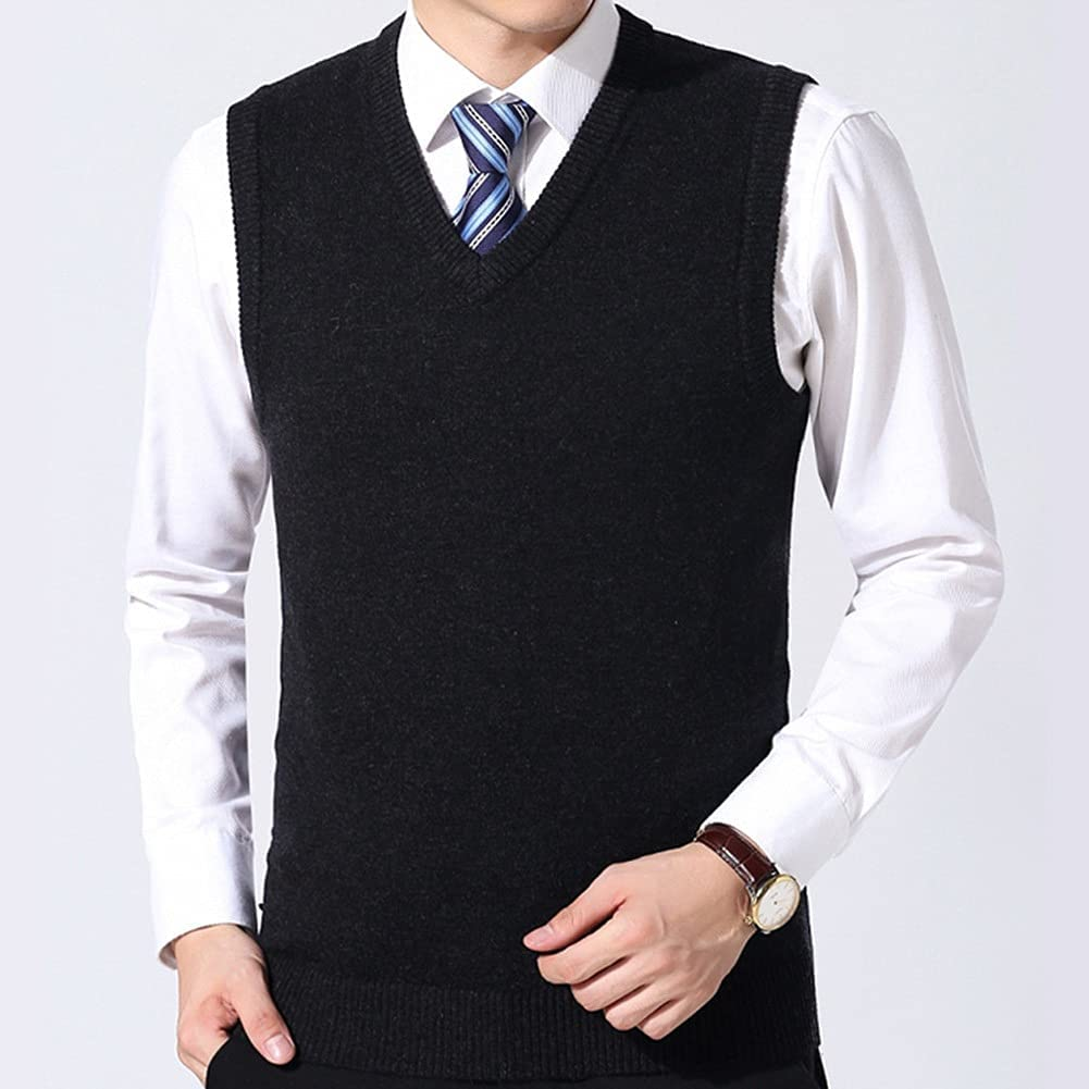 ZYKBB Max 60% OFF Warm Knit Vest Men Autumn Winter New product!! Classic Color Pure Stylis