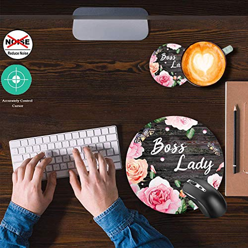 Round Mouse Pad and Coaster Set, Pink Rose Flower Pattern Wooden Art Boss Lady Quote Mousepad, Non-Slip Rubber Base Gaming Mouse Pads for Working Or Game Photo #5