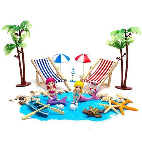 ZWOOS Strand-Mikrolandschaft, 18 Stück Geburtstagsgeschenk Miniatur Dekoration, Mini Liegestuhl Meerjungfrau Dekoration Deko Strand Palme Blauer Sand Schwimmring Leuchtturm Sonnenschirmen Booten usw