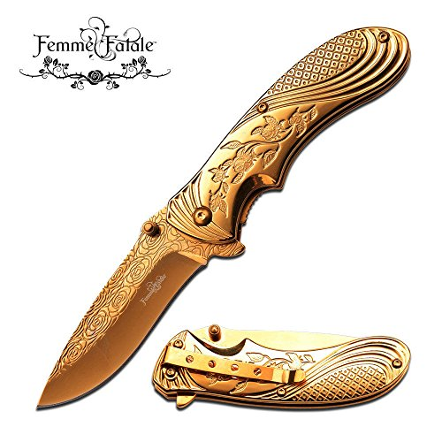 New SPRING ASSIST FOLDING POCKET ProTactical Limited Edition Elite Knife | Femme Fatale Women Girl Gold Rose FF-A008GD