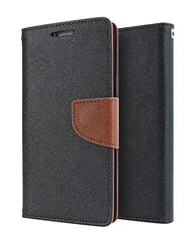 Anvika Magnetic Lock, Looking Dairy & Wallet Style Luxury Leather Mercury Flip Back Case Cover for Micromax Canvas Juice 2 AQ5001 (Black & Brown)