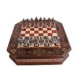 Royal Medieval British Army - Set di scacchi in rame anticato per adulti, realizzato a mano a scacchiera in legno massello naturale, palissandro modellato su tavola, contenitore interno