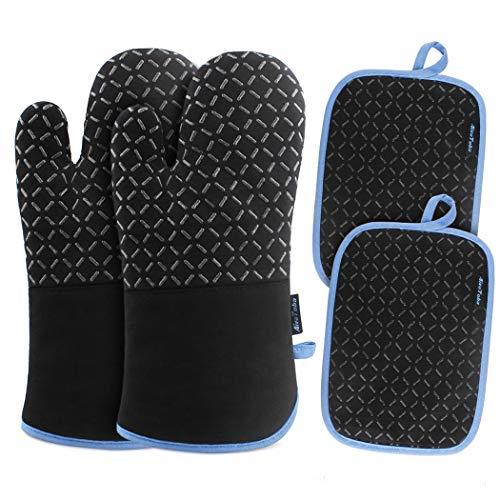 AivaToba Ofenhandschuhe und Topflappen Set,Hitzebeständig Topflappen Handschuh Set rutschfeste Topfhandschuhe Baumwolle bis zu 260°C für Kochen Backen Grillen, Schwarz