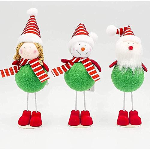 Uymkjv Juego de 3 Piezas de Adornos creativos para muñecos de Santa, Regalos Colgantes Hechos a Mano para la Familia de Navidad, muñeco de Santa, Juguetes de Peluche, Regalos de cumpleaños A