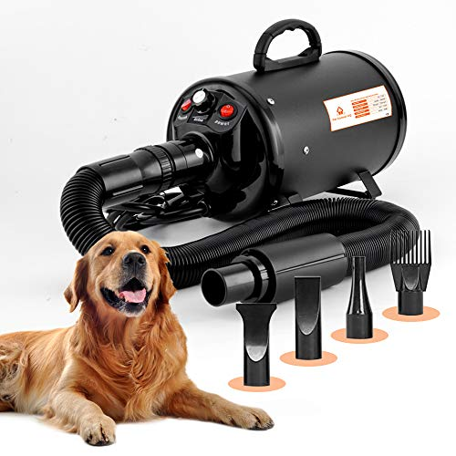 Dog Blow Dryer for Grooming (HV) Undercoat K9 Forced Air, High Velocity Coat Blower Kit, Deshedding Pet Hair Blaster – Professional Heat, Quiet 2 Motor, Hose, Brush Deshedder for Long Haired Bathing