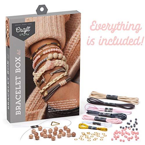Craft Crush – Bracelet Box Kit – Craft Kit Makes 8 DIY Bracelets – Blush Tones