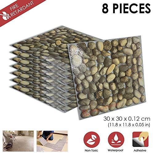8 Stucke Schalen und Kleben 30 x 30 x 0.1 cm Heimtextilien F- STEIN Design PVC Bodenbelag Fliesen Selbstklebend Vinyl-Fliesen 1175