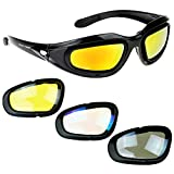 AULLY PARK Polarized Motorcycle Riding Glasses Black Frame with 4 Lens Kit for Outdoor Activity Sport