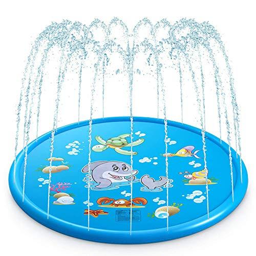 WDDMFR Baby-Schwimmbad,aufblasbare Spritzschutz-Sprinklerunterlage für Kinder,Spiele für Wasserspiele im Freien,lustige Spielmatte für Gartenbrunnen für Jungen im Alter von 1 bis 12 Jahren
