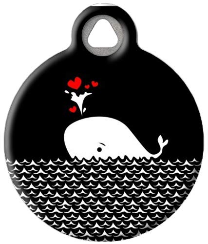 Dog Tag Art Heart Whale Custom Pet ID Tag for Dogs (Large), Cute, Funny Valentine's Day Dog Tags and Cat Tags, Durable Personalized Dog Tags with Customized Identification Information