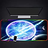 Mouse Pads Cosmic Explosion Blue Light RGB Gaming Mouse Pad LED Lighting Computer Keyboard Laptop Large Mouse Mat,35.4×15.7 Inches