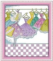11Ctプリントパターンの初心者子供と大人のためのスタンプ生地DIY刺繡キット付きクロスステッチキット多くのカラフルなスカート16X20インチ