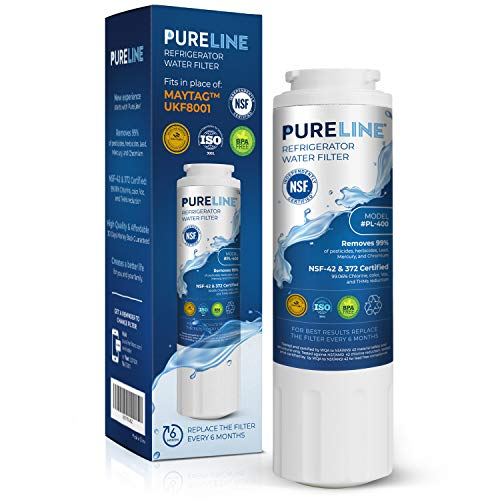 Pureline UKF8001 Water Filter Replacement for Everydrop Filter 4, UKF8001, UKF8001AXX-750, UKF8001AXX-200, Whirlpool 4396395, Kenmore 9006, Puriclean II, and Many More Models.