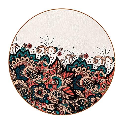 Juego de 6 posavasos con imagen y texto personalizables para inauguración de la casa, regalos de anfitriona, registro de boda, decoración de habitación, estilo árabe patrón árabe D4.7.6 cm